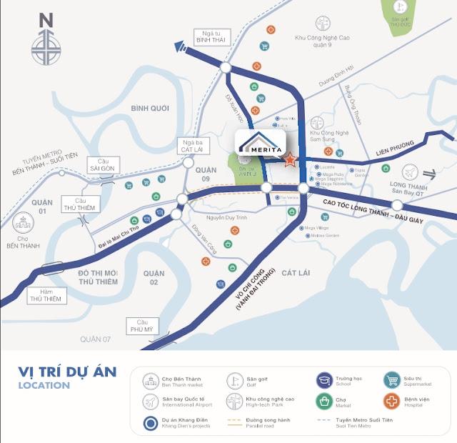 Vị trí dự án nhà phố Merita Khang Điền Quận 9