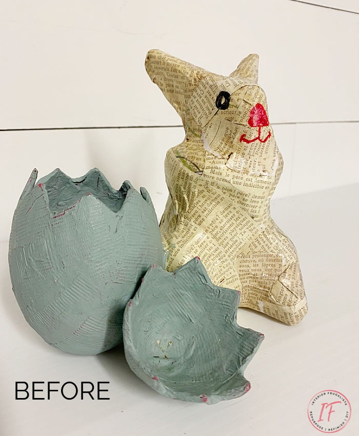 A faux concrete paper mache Easter bunny gets a brand new look. How to refresh dated spring decor inexpensively with hand painted faux cement.