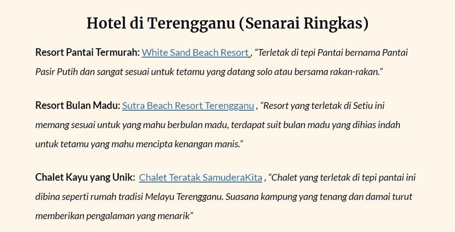 Chalet Tepi Pantai Terengganu