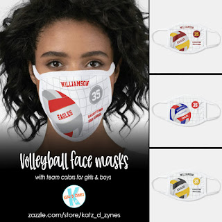 Volleyball themed sports face masks by katzdzynes