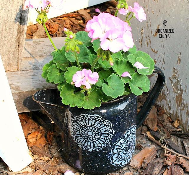 Shabby Chic/Boho Junk Garden Vignette #stencil #mandala #graniteware #junkgarden #containergarden