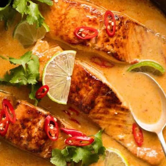Poached Salmon in Coconut Lime Sauce #dinner #easyrecipes