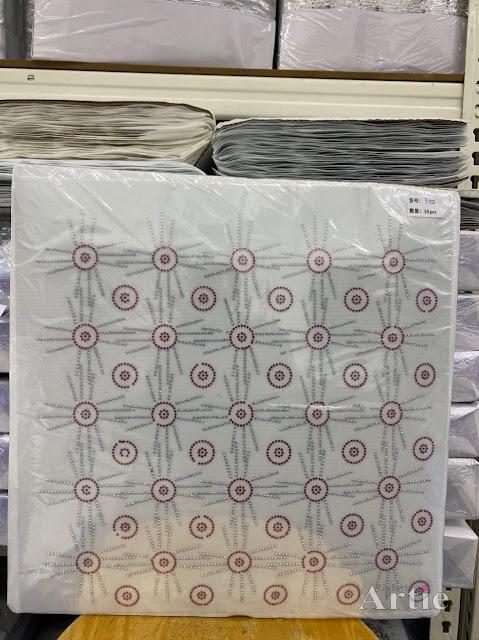 Hotfix stickers dmc rhinestone aplikasi tudung bawal fabrik pakaian bulatan 3 line
