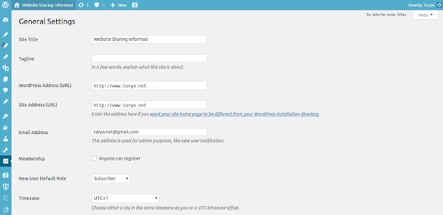 Belajar mengenal Options General pada Menu Settings di Wordpress versi Terbaru