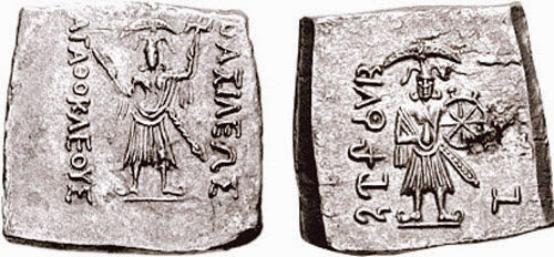 Bronze coin issued by the Indo-Greek ruler Agathocles (c.180-165 BC), depicting Balarama and Krishna.