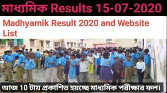 Madhyamik Result 2020 and Website List
