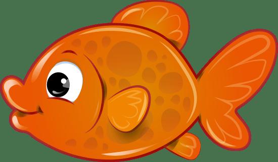 Bonito pez cartoon de aspecto acristalado en colores naranja y dorado ilustración infantil