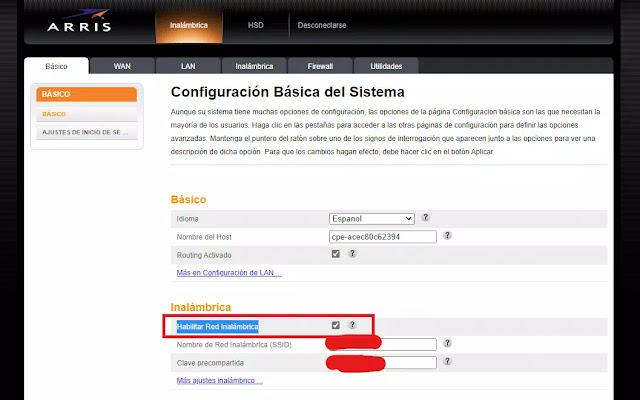 Configuración de modem Arris para deshabilitar wifi