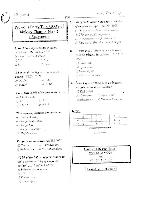 1st year biology chapter 3 enzymes mcqs