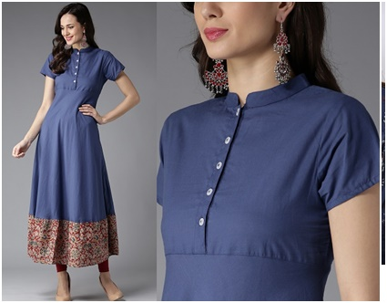 Stand collar Neckline Kurtis from Jaipur - Megha Shop