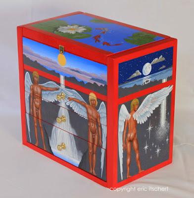 boîte à bijoux, bois, tempera, lune, étoile, soleil, lotus, carpe, poisson, iris
