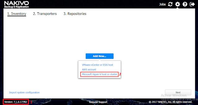 NAKIVO Backup & Replication v7.1: Add New.