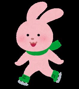 アイススケートをする動物のキャラクター(うさぎ)