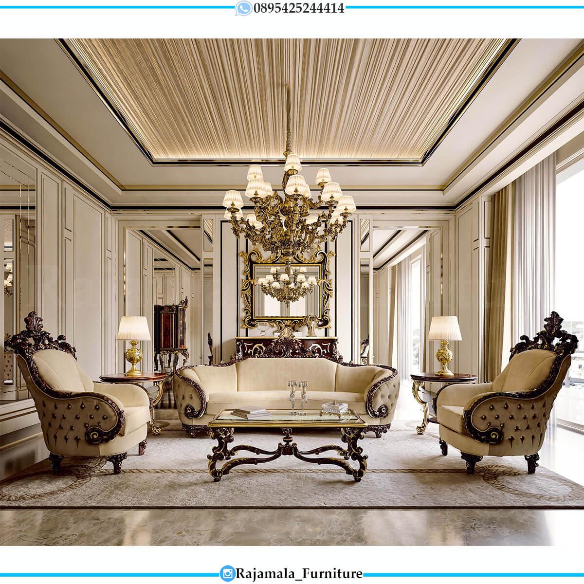 Sofa Tamu Mewah Natural Jati Klasik Ukiran Jepara Terbaru RM-0742