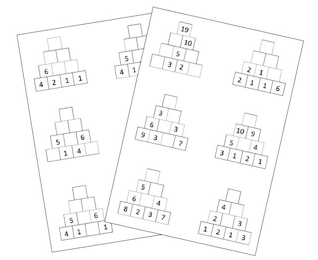 na zdjęciu dwie strony z zadaniami w formie piramid matematycznych czyli kwadratów, w których wpisujemy kolejno działania pnąc się w górę