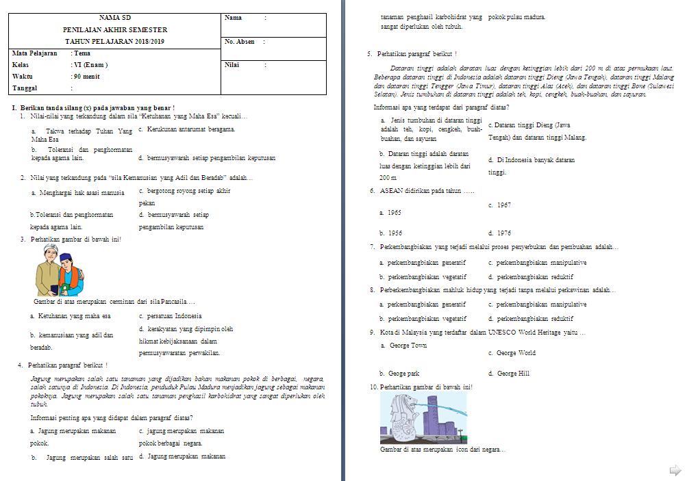 Soal Semester Kelas 6 Tema 1