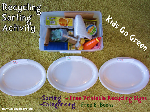learn with play at home, kids activity, recycling activity, memetales