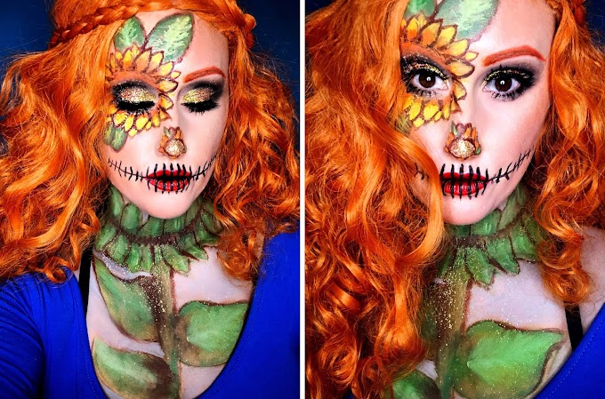 A Pretty Sunflower Scarecrow Look for Halloween + Video