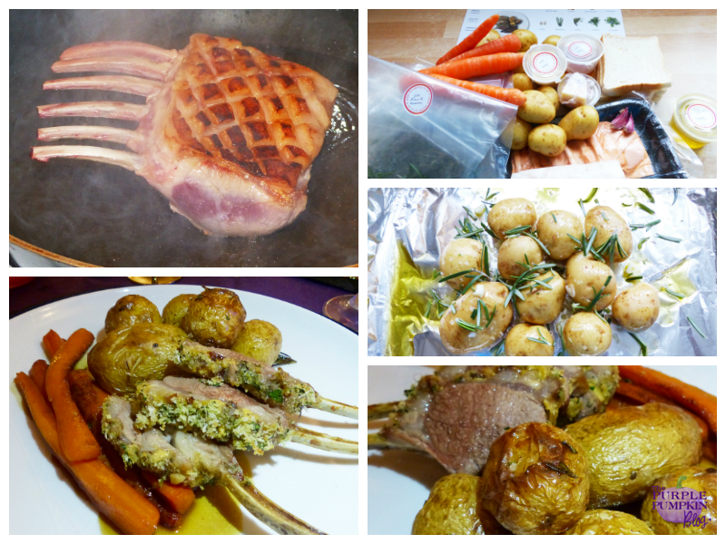 Herb Crusted Rack of Lamb with Roasted New Potatoes and Honey Glazed Carrots
