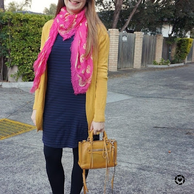 awayfromblue instagram pink navy and mustard yellow striped tee dress work from home outfit winter