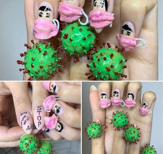 Creative Nail Art On Corona Virus