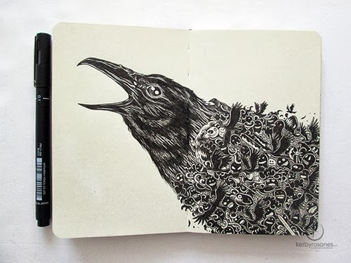 03-Crow-Ded-Filippino-Artist-and-Illustrator-Kerby-Rosanes-Pen-Doodles-www-designstack-co