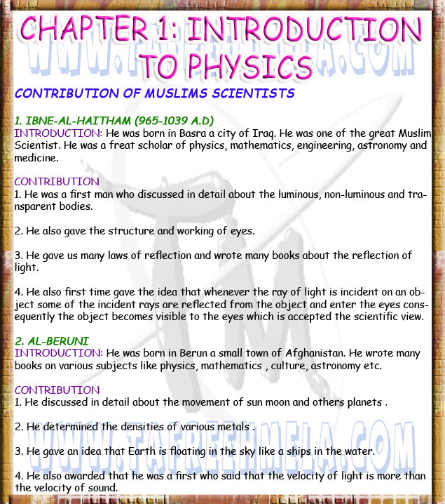 Physics Matric Notes | Notes For All