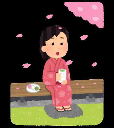 縁側で花見をする人のイラスト(女性)