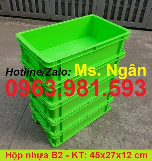 Hộp nhựa B2, thùng nhựa đặc, sóng nhựa bít B2, thùng nhựa cơ khí, hộp đựng linh kiện có nắp B2