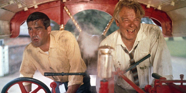 Michael Craig and Alan Hale Jr.driving a traction engine
