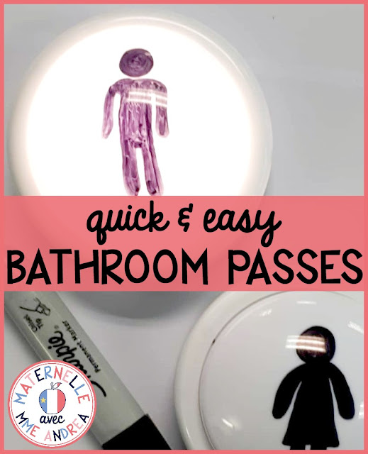 "A quick, easy, and fun way to make ""bathroom passes"" for your students! Instead of giving them something to take with them (and most likely forget in the bathroom!), have them flick on a light on their way out and turn it off when they return. You and the other students will easily know when someone is at the washroom!"