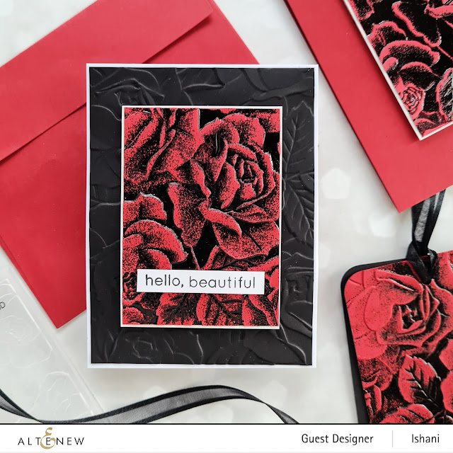Double and spotlight embossing, heat embossing with embossing folders, Spotlight embossing and eclipse die cutting technique with embossing folder, Altenew Roses card, Embossing folder card, Craft your life Project kit - Garden rose, How to use embossing folder video tutorial,  Altenew Garden rose, Rose card, heat embossing with embossing folders,  Quillish, Ishani