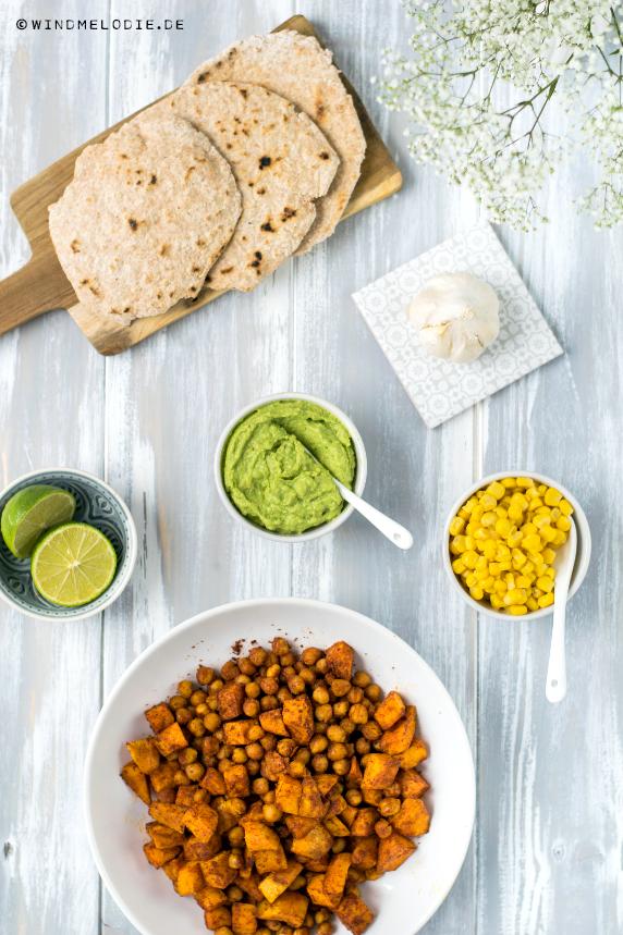 Vegane Vollkorn Tortillas glutenfrei mit Kichererbsen und Süßkartoffeln