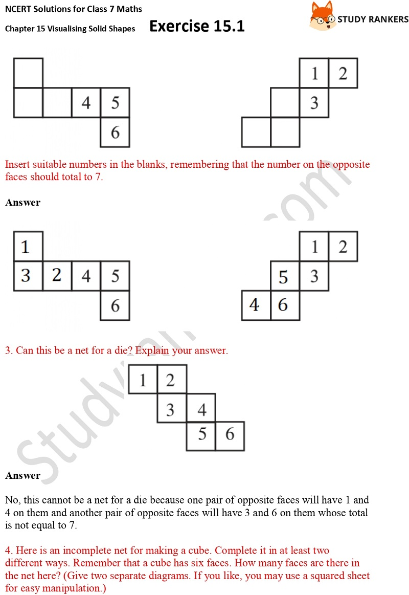 NCERT Solutions for Class 7 Maths Chapter 15 Visualising Solid Shapes Exercise 15.1 Part 2