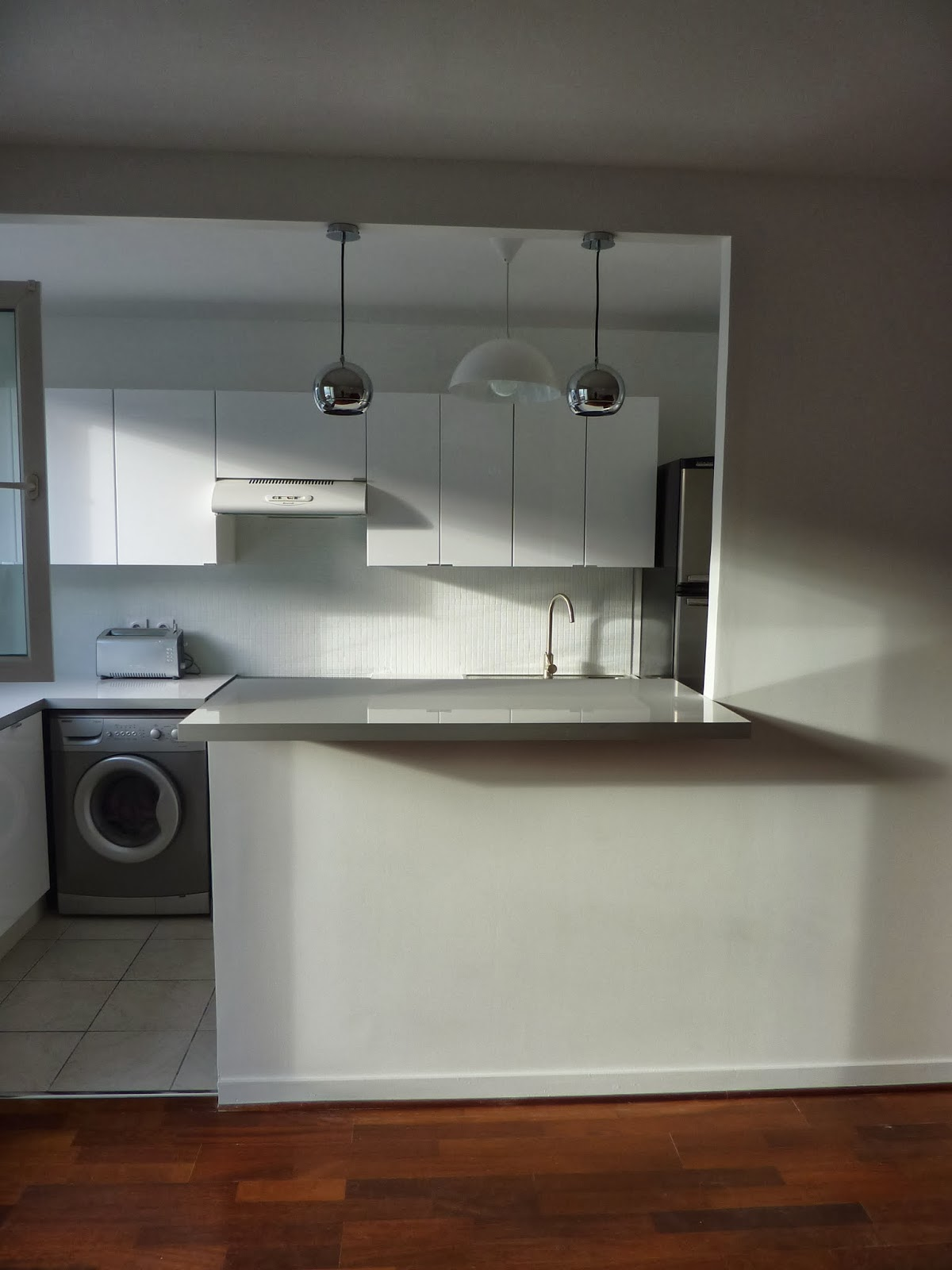 cr ation d 39 une cuisine semi ouverte sur s jour asni res. Black Bedroom Furniture Sets. Home Design Ideas
