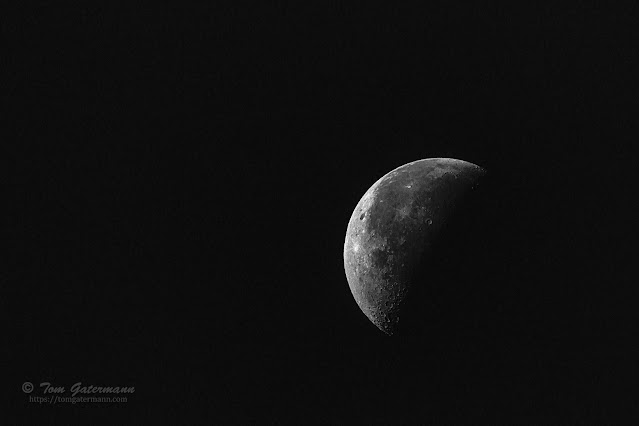 The Waning Crescent Moon phase in black and white