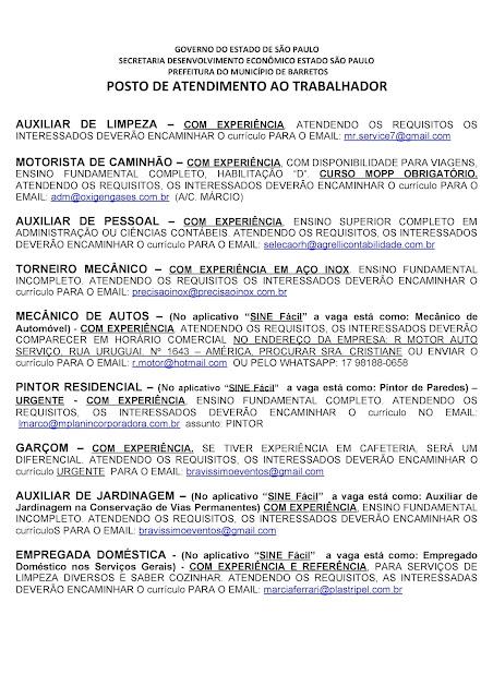 VAGAS DE EMPREGO DO PAT BARRETOS PARA 05-11-2020 PUBLICADAS DE MANHÃ - Pag. 2