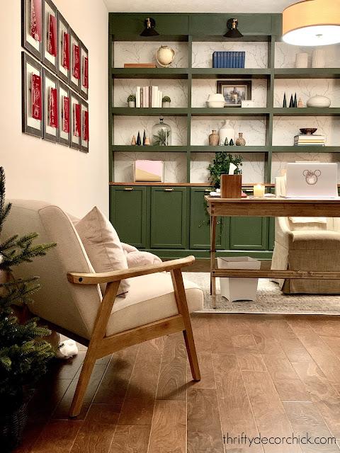 dark green DIY bookcases office