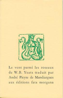 Couverture du recueil Le Vent parmi les roseaux de Yeats chez Fata Morgana
