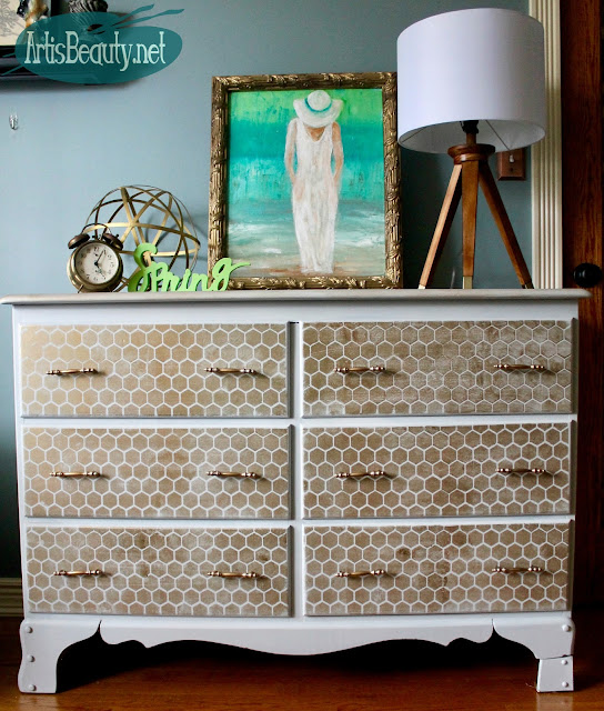 honeycomb geometic gray and gold dresser makeover bohochic distressed stencil diy before and after