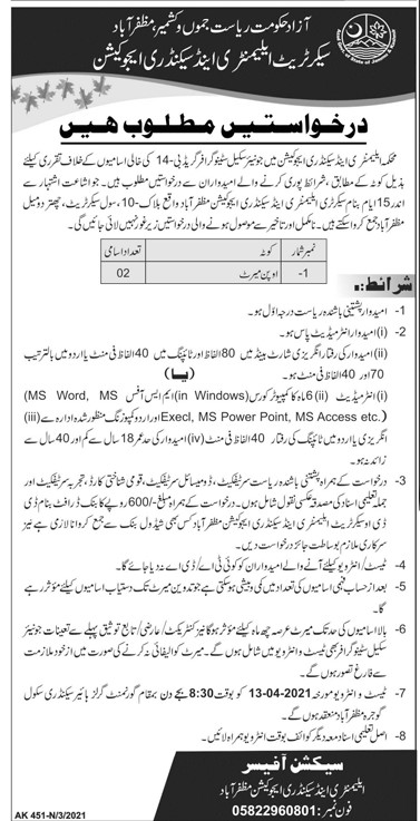 Latest Jobs 2021 in AJK Elementary & Secondary Education Department