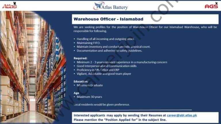 Atlas Battery Ltd Jobs 2021 in Pakistan