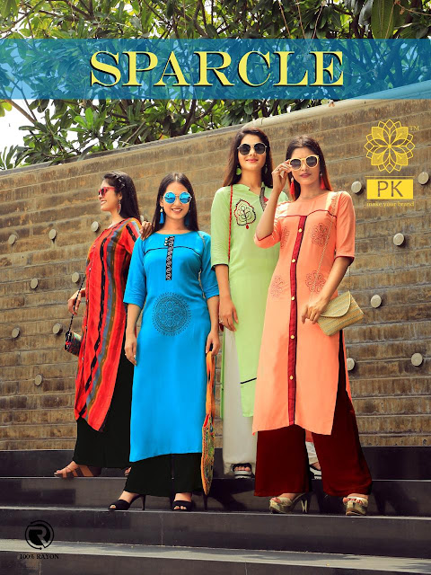 Aradhna Pk Sparkle Rayon Daily wear kurtis catalog wholesaler