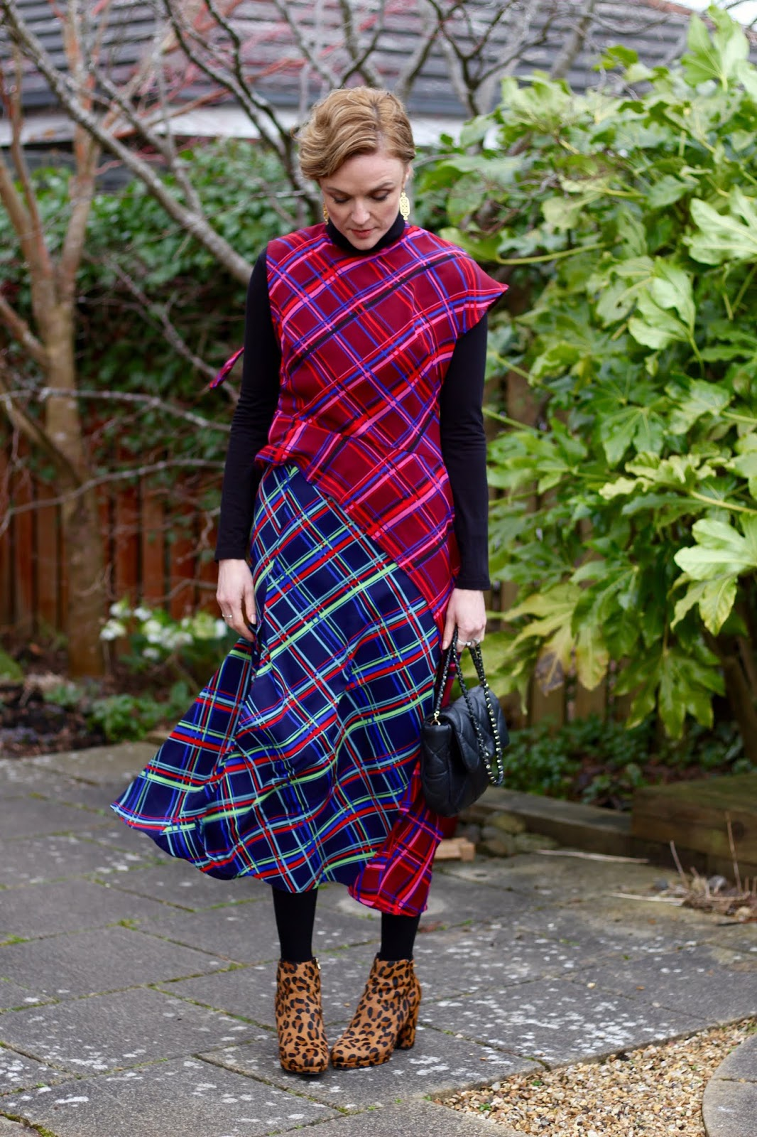 Tartan checked dress, leopard boots | Mixing patterns | Fake Fabulous