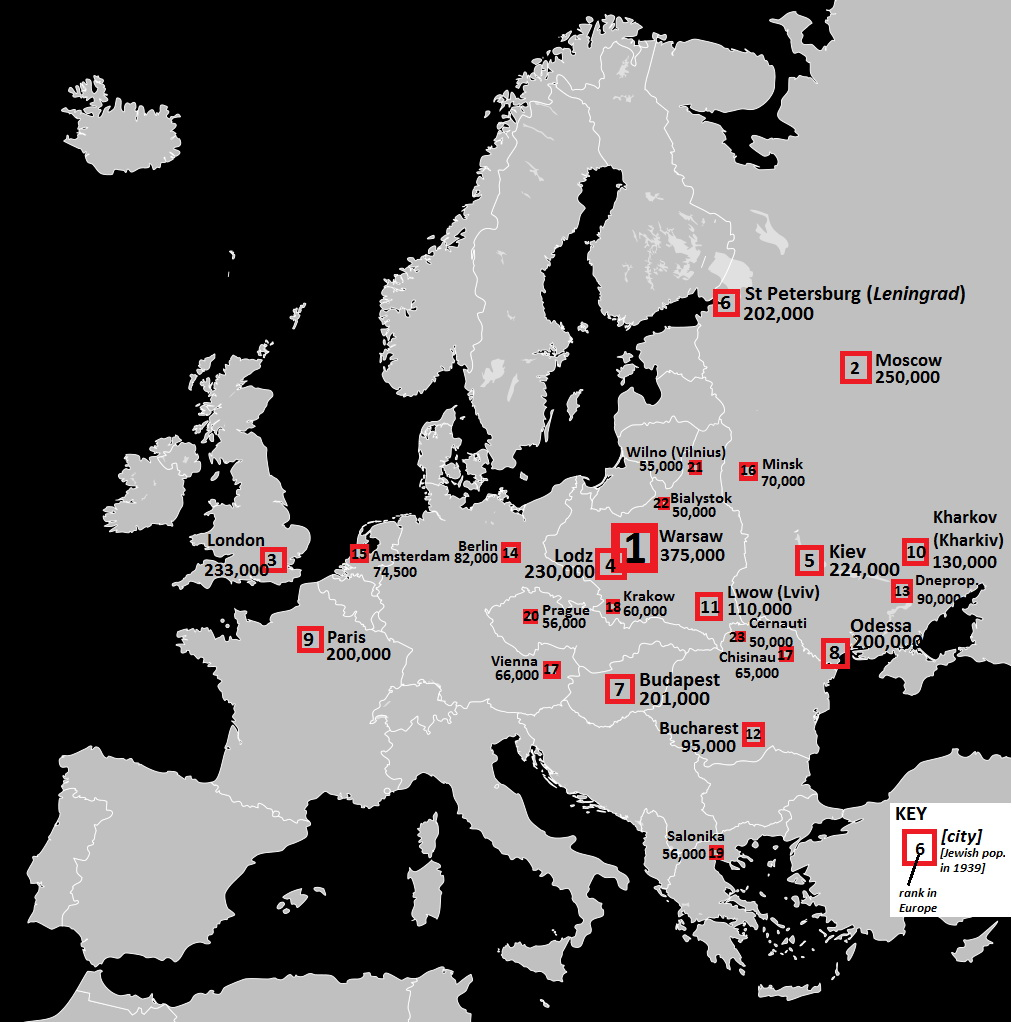 Jewish population in European cities in 1939