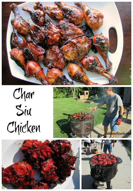 This fun grilled chicken recipe is based of char siu, the red pork you see at Chinese restaurants. It soaks for a long time in a great marinade giving it that color and tons of flavorful.