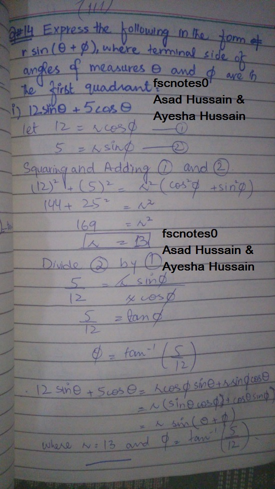 FSc ICS FA Notes Math Part 1 Chapter 10 Trigonometric Identities Exercise 10.2 Question 14 Written by Asad Hussain & Ayesha Hussain