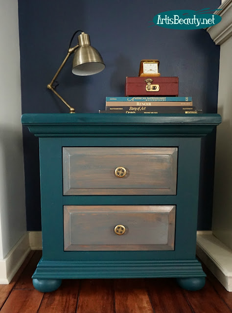 general finishes custom green blue pine nightstand end table makeover gray gel stain diy eclectic bohemian decor