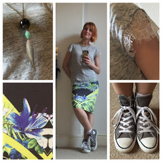 Miss Selfridge print skirt, zara top, converse trainers