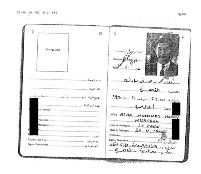 Alaa Mubarak's passport